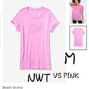 M NWT VS PINK BEACH ORCHID CAMPUS CREW T SHIRT SS